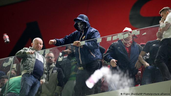 Fans at the World Cup qualifier between Albania and Poland in Tirana