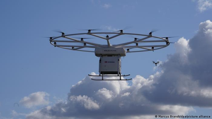 The Volodrone takes its first public flight over the Hamburg Harbor