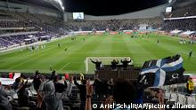 Israelifans cheer before a World Cup 2022 group F qualifying soccer match between Israel and Scotland in Tel Aviv, Israel, Sunday, March 28, 2021. (AP Photo/Ariel Schalit)
