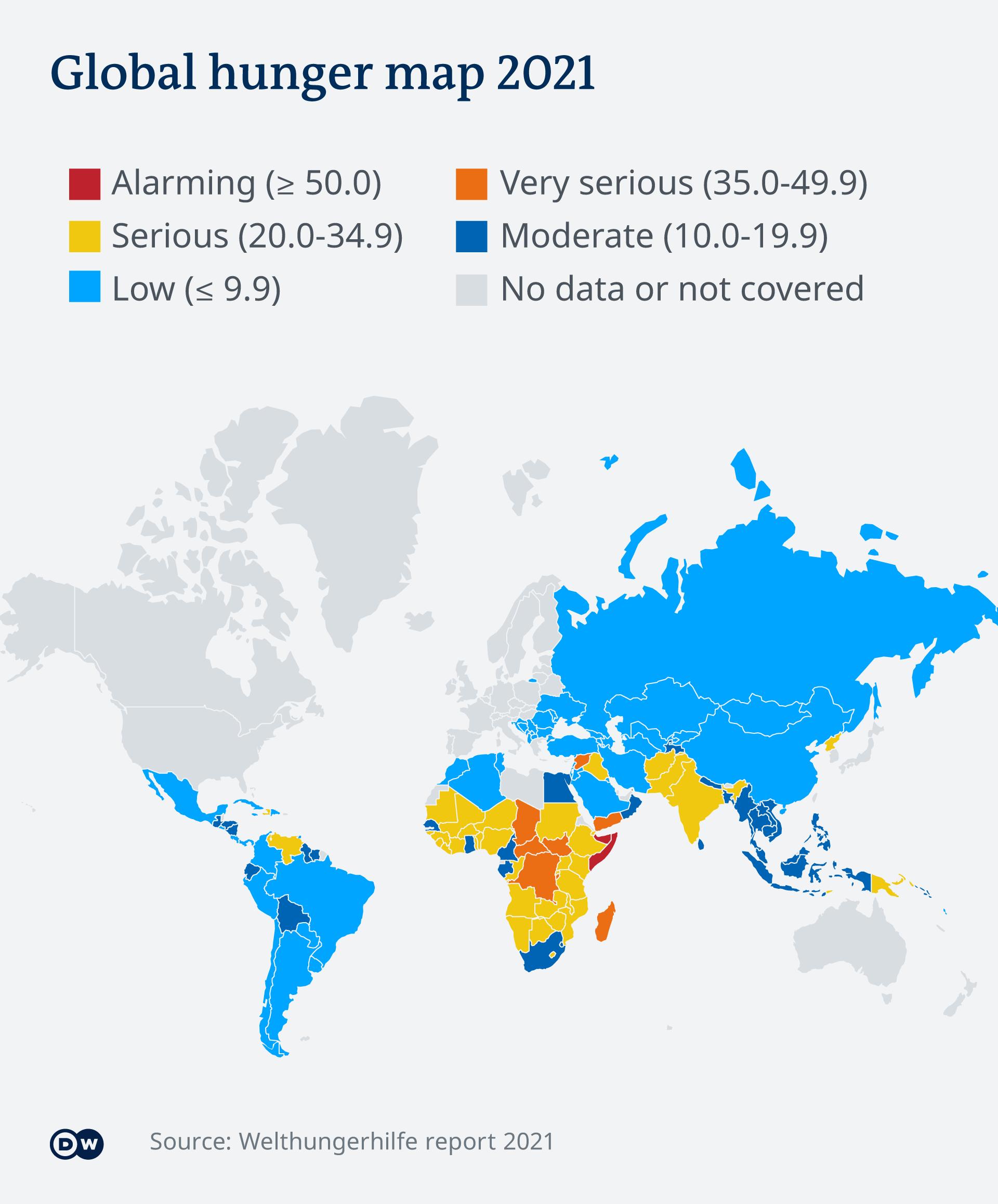 Infografik Karte Welthungerindex 2021 EN