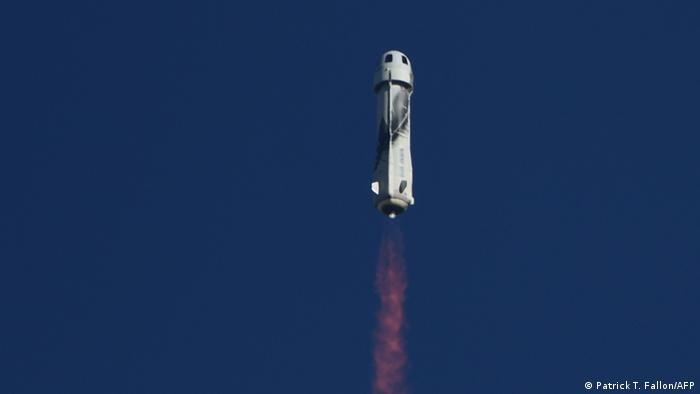 The New Shepard rocket being launched from West Texas