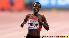 Agnes Tirop File Photo. File photo dated 28-09-2019 of Kenya's Agnes Jebet Tirop competes in the Women's 10,000 metres during day two of the IAAF World Championships at The Khalifa International Stadium, Doha, Qatar. Athlete Agnes Tirop has died, Athletics Kenya has announced. Issue date: Wednesday October 13, 2021. See PA story ATHLETICS Tirop. Photo credit should read Martin Rickett/PA Wire. URN:63035742