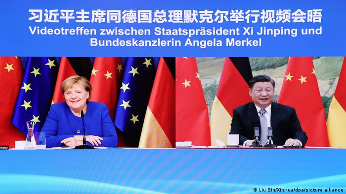 German Chancellor Angela Merkel speaks with Xi Jinping by video call