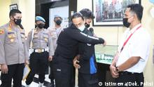 Police apologize for 'body slam' incident against a student protester. The Banten Police Chief Insp. Gen. Rudy Heriyanto on Wednesday (13/10) met with a college student M. Faris Amrullah (31) who had previously participated in a rally and became a victim of excessive force committed by a police officer securing the protest. In a viral video that quickly spread through social platforms, the student can be seen being in a chokehold and was slammed to the ground by the police and violently landed on the back of his head. Amrullah then can be seen shaking uncontrollably laying on the ground seemingly experiencing a seizure.