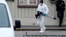14.10.2021 TOPSHOT - A police forensic carries material during investigations after a man armed with a bow and arrows killed 5 people before being arrested by police in Kongsberg, on October 14, 2021. - A man armed with a bow and arrows killed five people and wounded two others in southeastern Norway on October 13, 2021, police said, adding that they had arrested the suspect. The motive for the attack, which took place in several locations in the town centre of Kongsberg, was unknown but police said terrorism could not yet be ruled out. - Norway OUT (Photo by Terje Bendiksby / NTB / AFP) / Norway OUT (Photo by TERJE BENDIKSBY/NTB/AFP via Getty Images)