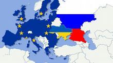 Karte Symbolbild Ukraine zwischen Russland und der EU NEU