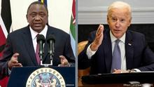 LINKS: In this photo taken from video shown at United Nations headquarters, Kenya's President Uhuru Kenyatta remotely addresses the 76th session of the U.N. General Assembly in a pre-recorded message, Wednesday Sept. 22, 2021. (UN Web TV via AP) RECHTS: FILE PHOTO: U.S. President Joe Biden speaks as he participates in the virtual CEO Summit on Semiconductor and Supply Chain Resilience from the Roosevelt Room at the White House in Washington, U.S., April 12, 2021. REUTERS/Kevin Lamarque/File Photo
