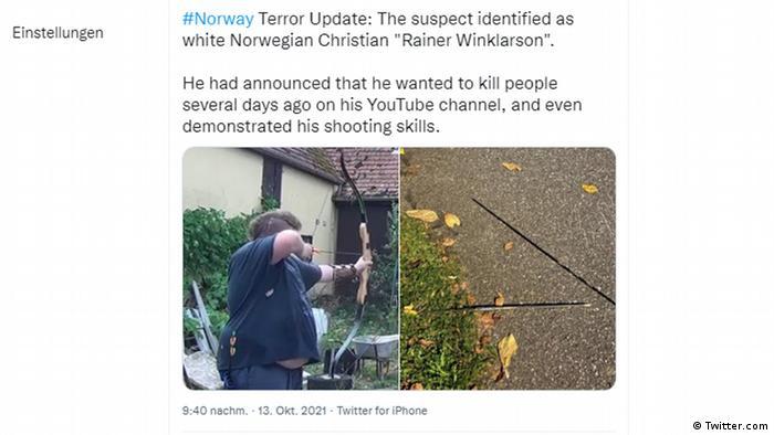 Captura de pantalla de un tuit sobre el ataque en Noruega.