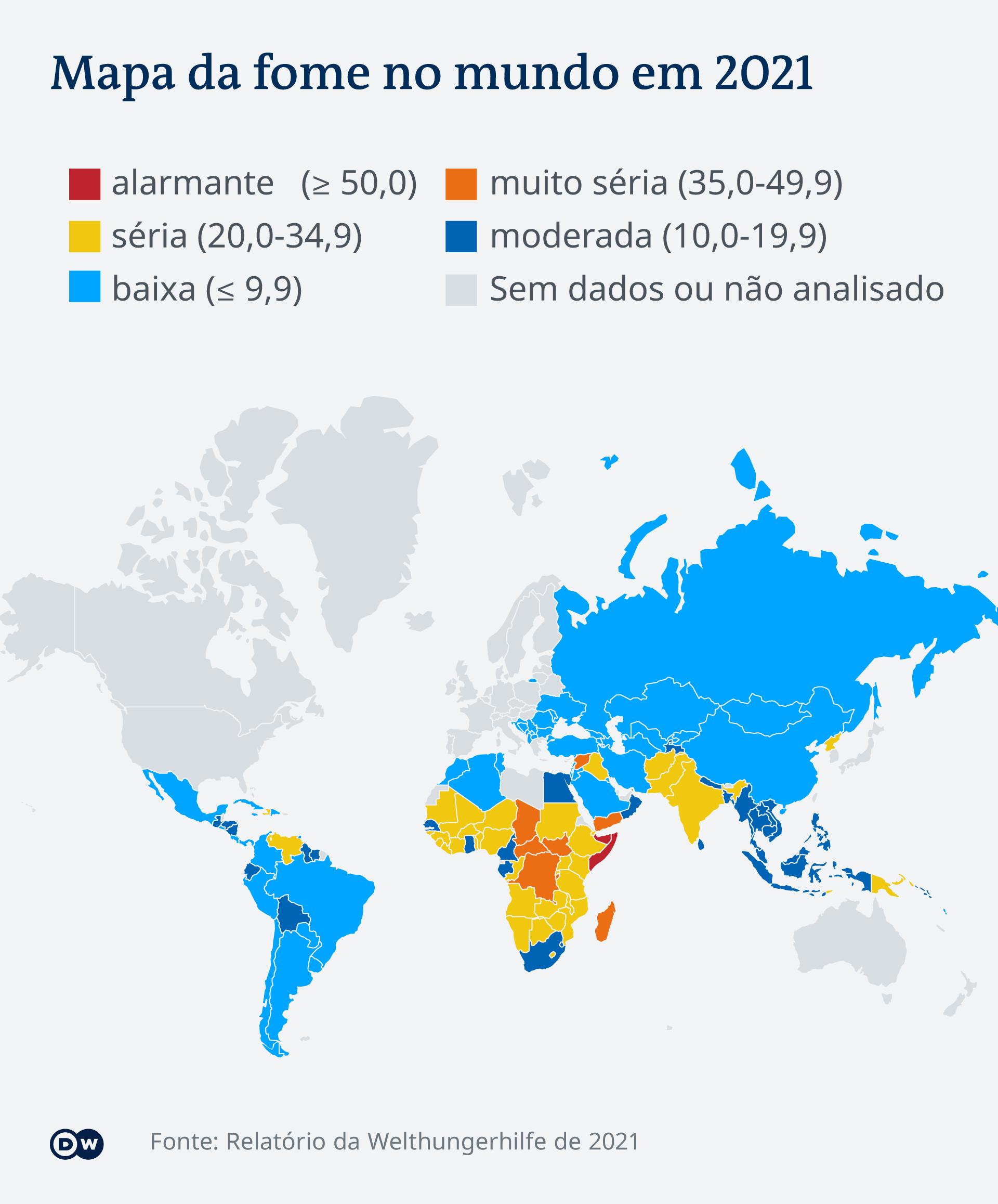 Mapa da fome do mundo em 2021