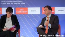 """14.10.2021, Skopje, Nordmazedonien Außenminister Bujar Osmani während der """"Economist"""" Westbalkan Konferenz // Redaktion: Boris Georgievski"""