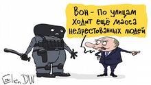 Das ist eine Karikatur von Sergey Elkin. Sie darf auf DW-Seiten veröffentlicht werden. Copyright: Sergey Elkin. Thema: Putin über die Verfolgung der Opposition in Russland Stichworte: Elkin, Karikatur, Wladimir Putin, Putin über die Opposition, Verfolgung der Opposition in Russland Bildbeschreibung: Karikatur - russischer Präsident Wladimir Putin zu einem Soldat der Spezialeinheiten: Siehe mal, wie viele nicht Festgenommene noch auf der Straße sind.