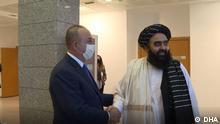 14.10.2021, Ankara, Türkei, Treffen zwischen dem türkischen Außenminister Mevlüt Cavusoglu und Taliban Außenminister Amir Khan Muttaqi in Ankara