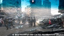 14.10.2021, Beirut, Libanon, Lebanese army soldiers are seen through the bullet-riddled window of a car after deadly clashes erupted along a former 1975-90 civil war front-line between Muslim Shiite and Christian areas, in Ain el-Remaneh neighborhood, Beirut, Lebanon, Thursday, Oct. 14, 2021. Lebanese officials say at least six people were killed and dozens were wounded in armed clashes that erupted in Beirut during protests organized by the militant Hezbollah group and its allies against the lead investigator into last year's massive blast at the city's port. (AP Photo/Bilal Hussein)