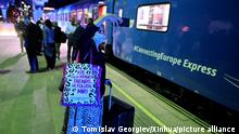 (210914) -- SKOPJE, Sept. 14, 2021 (Xinhua) -- The Connecting Europe Express train arrives in Skopje, North Macedonia, on Sept. 13, 2021. The train started its journey from Lisbon on Sept. 2 and will end the journey in Paris on Oct. 7. (Photo by Tomislav Georgiev/Xinhua)