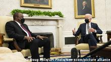 President Joe Biden meets with Uhuru Kenyatta, President of the Republic of Kenya in the Oval Office of the White House in Washington, DC on Thursday, October 14, 2021. Pool Photo by Doug Mills/UPI Photo via Newscom picture alliance