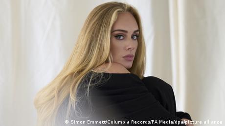 British singer Adele looks into the camera