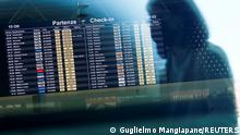 15.10.2021 The information screen displays ITA flights as the new airline carrier starts flying in place of bankrupt Alitalia, in Rome, Italy, October 15, 2021. REUTERS/Guglielmo Mangiapane