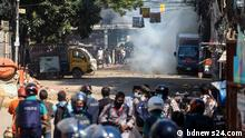 """Hundreds of protesters in Bangladesh have clashed with police in Dhaka today after they brought out a procession from the Baitul Mukarram mosque to protest the alleged """"dishonouring"""" of the Quran in Cumilla."""