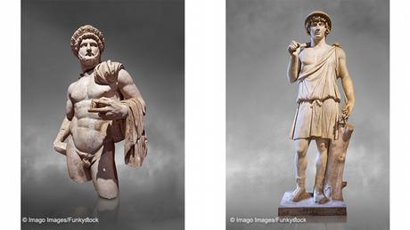 À esquerda, estátua do imperador romano Adriano; à direita, estátua de seu amante Antínoo.
