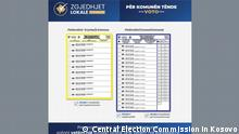 Local Elections in Kosovo, a blank ballot for mayor, for your municipality Deutsche Welle have all right to use this photo for website Author: Central Election Commission in Kosovo (official publications for media)