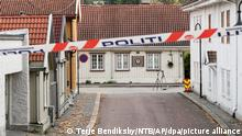 The cordoned-off area of the scene involved in the bow and arrow attack, in Kongsberg, Norway, Friday, Oct. 15, 2021. The suspect in a bow-and-arrow attack that killed five people and wounded three in a small Norwegian town is facing a custody hearing Friday. He won't appear in court because he has has confessed to the killings and has agreed to being held in custody. (Terje Pedersen/NTB via AP)