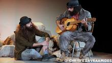 Scene from the play Waiting For Godot directed by Kostas Silvestros Description: Giorgos Kyriakou and Izel Seylani interpreting the roles of Estragon and Vladimir in Nicosia on 2021
