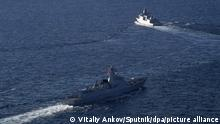 6673030 15.10.2021 Russian and Chinese warships take part in the Russian-Chinese naval exercises Joint Sea 2021 off the Russian Far East in the Sea of Japan, Russia. Vitaliy Ankov / Sputnik