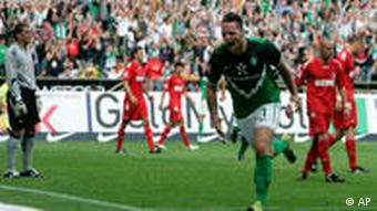 Bremen's Marko Arnautovic reacts after he scored his side's second goal