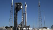 15/10/2021 A United Launch Alliance (ULA) Atlas V rocket stands on Complex 41 at the Cape Canaveral Space Force Station, Florida on Friday, October 15, 2021. The Atlas is scheduled to launch NASA's Lucy spacecraft on a voyage that will fly by seven Trojan asteroids beyond the orbit of Jupiter. Photo by Joe Marino/UPI Photo via Newscom picture alliance