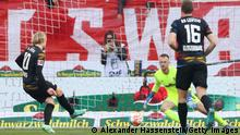 FREIBURG IM BREISGAU, GERMANY - OCTOBER 16: Emil Forsberg of RB Leipzig scores their team's first goal from the penalty spot during the Bundesliga match between Sport-Club Freiburg and RB Leipzig at Europa Park Stadion on October 16, 2021 in Freiburg im Breisgau, Germany. (Photo by Alexander Hassenstein/Getty Images)