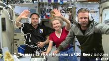 6670052 11.10.2021 In this handout video grab released by the Russian Space Agency Roscosmos, from left, cosmonaut Anton Shkaplerov, actress Yulia Peresild and film director Klim Shipenko are pictured during the 66th Expedition to the International Space Station (ISS). Editorial use only, no archive, no commercial use. The press service of Roskosmos / RSC Energia»