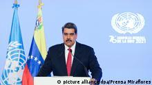 Auf diesem vom venezolanischen Präsidentenamt zur Verfügung gestellten Bild spricht Nicolas Maduro, Präsident von Venezuela, in einem vorher aufgenommenen Video im Rahmen der Generaldebatte der UN-Vollversammlung. +++ dpa-Bildfunk +++