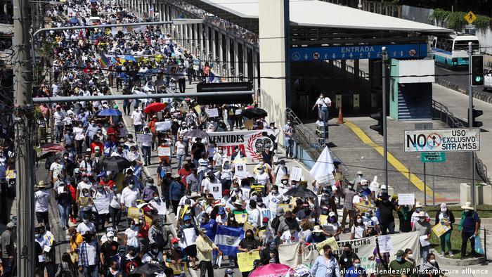People march during a protest against President Nayib Bukele in San Salvador