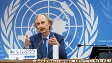 Geir O. Pedersen, UN Special Envoy for Syria, speaks to the media about the sixth session of the Constitutional Committee Small Body, during a press conference at the European headquarters of the United Nations in Geneva, Switzerland, Sunday, October 17, 2021. (KEYSTONE/Martial Trezzini)