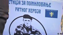 Die Rechtsnationalisten in Belgrad, Serbien, betreiben eine Petition für Freilassung von Zvezdan Jovanovic, der den ersten demokratischen Premierminister des Landes Zoran Djindjic 2003. getötet hat. Belgrad, Anfang Oktober.