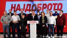 Pressekonferenz der Nordmazedoniens Premierminister Zoran Zaev nach den Kommunalwahlen. Skopje, 18.10.2021