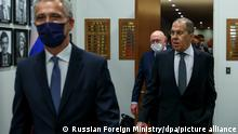 6657005 23.09.2021 In this handout photo released by the Russian Foreign Ministry, Russian Foreign Minister Sergey Lavrov, right, and NATO Secretary General Jens Stoltenberg arrive for their meeting in New York, the United States. Editorial use only, no archive, no commercial use. Russian Foreign Ministry