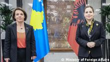 Vice Prime Minister and Foreign Minister of Kosovo, Donika Gërvalla and Minister of Foreign Affairs Olta Xhaꞔka.