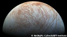 The puzzling, fascinating surface of Jupiter's icy moon Europa looms large in this newly-reprocessed color view, made from images taken by NASA's Galileo spacecraft in the late 1990s. This is the color view of Europa from Galileo that shows the largest portion of the moon's surface at the highest resolution.