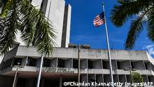 C. Clyde Atkins US Courthouse is photographed as the court hearing proceeds of Colombian businessman Alex Saab, who was extradited to the US, in Miami, Florida on October 18, 2021. - A fugitive businessman accused of acting as a money launderer for Venezuelan President Nicolas Maduro's regime said Sunday he would not collaborate with the United States, a day after he was extradited to the country from Cape Verde. Maduro said Sunday evening in a televised address that Alex Saab's extradition on Saturday was one of the most ignoble and vulgar injustices that has been committed in recent decades. (Photo by CHANDAN KHANNA / AFP) (Photo by CHANDAN KHANNA/AFP via Getty Images)