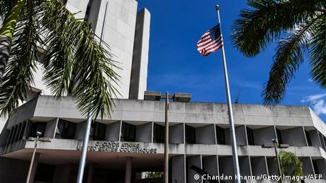 La sede del juzgado estadounidense C. Clyde Atkins, donde se desarrolló la audiencia del empresario colombiano Alex Saab, extraditado a Estados Unidos el 18 de octubre de 2021 desde Cabo Verde.