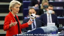 European Commission president Ursula von der Leyen delivers her speech Tuesday, Oct. 19, 2021 at the European Parliament in Strasbourg, eastern France. The European Union's top official locked horns Tuesday with Poland's prime minister Mateusz Morawiecki, arguing that a recent ruling from the country's constitutional court challenging the supremacy of EU laws is a threat to the bloc's foundations and won't be left unanswered. (Ronald Wittek, Pool Photo via AP)