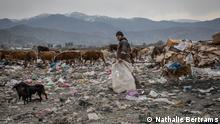 BU: Workers risk their health rummage through the trash for little pay to find recyclables ALT: A worker collecting rubbish on the Gonio landfill