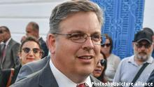 Donald Blome, US Ambassador to Tunisia attends the Lag B'Omer festival in the Synagogue on the Tunisian resort island of Djerba on May 22, 2018, the first day of the religious festival