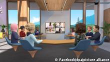 Uma reunião virtual no metaverso, segundo a concepção do Facebook