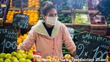 A seller at the Central Market in Buenos Aires, Argentina, saturday, April 3, 2020. (Photo by Mario De Fina/NurPhoto)