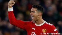 Soccer Football - Champions League - Group F - Manchester United v Atalanta - Old Trafford, Manchester, Britain - October 20, 2021 Manchester United's Cristiano Ronaldo celebrates scoring their third goal REUTERS/Phil Noble