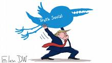 Der Autor ist Sergey Elkin, er hat die Karikatur extra für DW gemacht. ***Sie darf nur von DW verwendet werden.*** Donald Trump hat sein eigenes soziales Netzwerk Truth Social gestartet. Jahr/Ort: Moskau, 21.10.2021