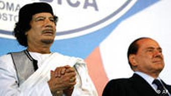 Gadhafi with Italy's Silvio Berlusconi