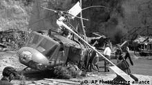"""FILE - This July 23, 1982 file photo shows the crash site where actor Vic Morrow and two children were killed during the filming of movie """"The Twilight Zone"""" in Santa Clarita, Calif. The accident shook the film industry and led to new safety standards for the use of choppers. (AP Photo/Scott Harms, File)"""